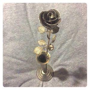 Metal Rose in Vase